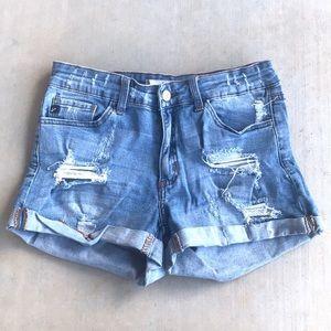 KanCan Distressed Jean Denim Shorts with Cuffs